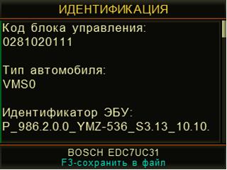 Пример идентификационных данных